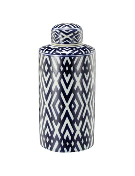 Carlyle Blue And White Ceramic Accent Jar by A And B Home