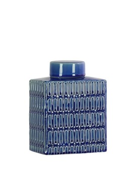Utc46300: Ceramic Rectangle 104 Oz. Jar With Lid And Embossed Oval Patterns Design Body Coated Finish Royal Blue by Urban Trends Collection