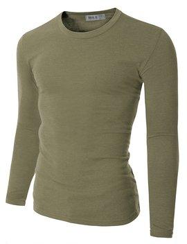 Doublju Mens Basic Crew Neck Long Sleeve Slim Fit T Shirts (Pack Of 3 Or 5) by Doublju