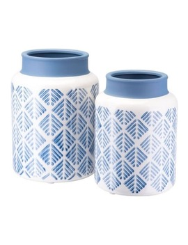 Zig Zag Vase Lg Steel Blue And White by Zuo