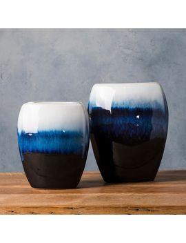 Marike Blue Ceramic Modern Decorative Vase (Set Of 2) by Generic