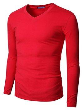 Doublju Mens V Neck T Shirts With Long Sleeve by Doublju