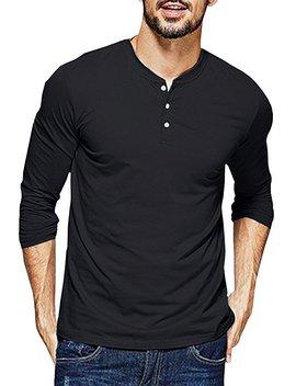 Daomumen Mens Henley T Shirts Long Sleeve Crew Neck With Button Slim Fit Plain Color Cotton Tops by Daomumen