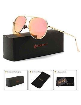 Sungait Women's Lightweight Oversized Aviator Sunglasses   Mirrored Polarized Lens by Sungait