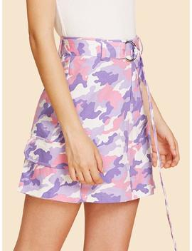 Flap Pocket Detail Camo Skirt With O Ring Belt by Shein