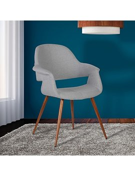 Armen Living Lcphsiwagray Phoebe Dining Chair In Grey Fabric And Walnut Wood Finish by Armen Living