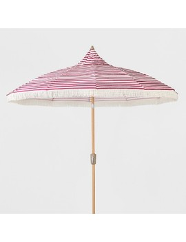 9' Striped Patio Umbrella With Fringe   Pink & White   Opalhouse™ by Opalhouse™