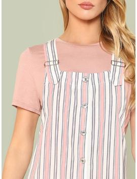 Button Up Pocket Side Striped Pinafore Dress by Shein