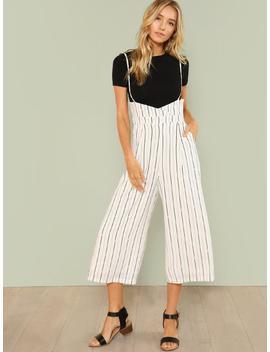 Pin Strip Wide Leg Suspender Pants by Sheinside