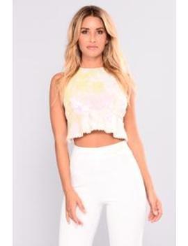Saint No Angel Sequin Top   White by Fashion Nova