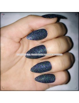 Ecbasket Press On Nails Glitter Witch Black Fake Nails Almond Nails Pointed Nail Tips 24 Pcs Stiletto Nails For Halloween Costume Nail Decorations by Ecbasket