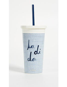 Seersucker Tumbler With Straw by Kate Spade New York