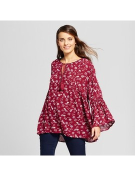 Women's Long Sleeve V Neck Peasant Blouse   John Paul Richard Wine Floral by John Paul Richard