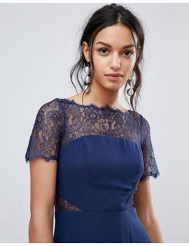 Asos Lace Insert Paneled Midi Dress by Asos Design
