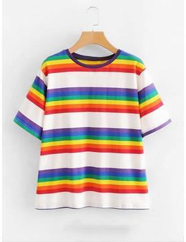 Rainbow Stripe Tee by Sheinside