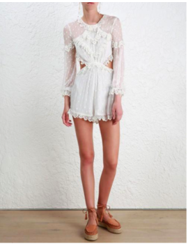 $695 Authentic Zimmermann Divinity Scallop Playsuit (Sizes 0, 1, 2) by Zimmermann
