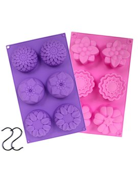 Juslin 2 Pcs 6 Cavity Assorted Silicone Flower Soap Mold Diy Soap Mold Handmade Chocolate Biscuit Cake Muffine Silicone Mold, With 2 S Hooks As Gift by Juslin Usa