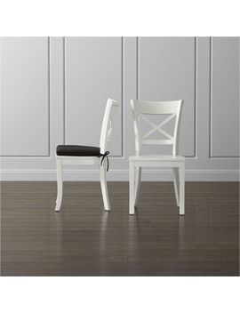 Vintner White Wood Dining Chair And Cushion by Crate&Barrel