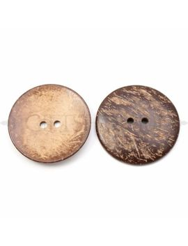 10x 50mm Large Brown Wooden Button Sewing Round 2 Hole Button Coconut Wood Craft by Unbranded