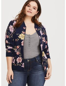 Navy Floral Twill Bomber Jacket by Torrid