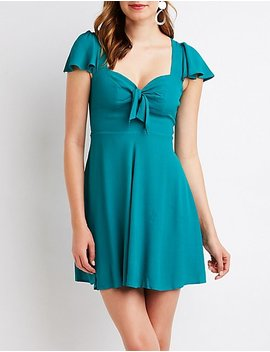 Tie Front Skater Dress by Charlotte Russe