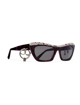 Dielle Cat Eye Python Effect Leather And Acetate Sunglasses by Acne Studios