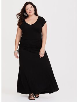 Black Shirred Jersey Maxi Dress by Torrid