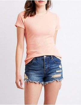 Ribbed Knit Skimmer Top by Charlotte Russe
