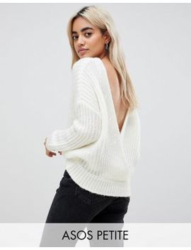 Asos Design Petite Chunky Sweater With V Back by Asos Design