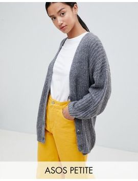 Asos Design Petite Oversize Cardigan In Chunky Rib With Buttons by Asos Design