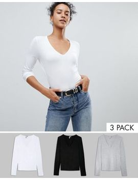 Asos Design Ultimate Top With Long Sleeve And V Neck 3 Pack Save 10 Percents by Asos Collection
