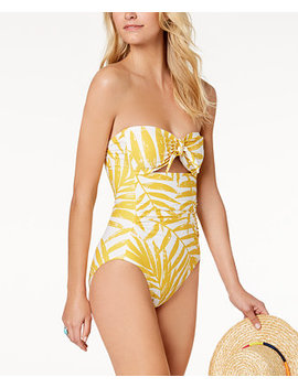 Palm Printed Tummy Control Cutout One Piece Swimsuit by Carmen Marc Valvo