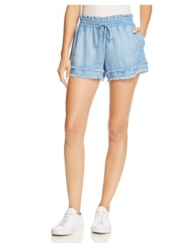 Frayed Hem Chambray Mini Shorts by Bella Dahl