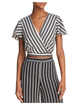 Striped Cropped Faux Wrap Top   100 Percents Exclusive by Aqua