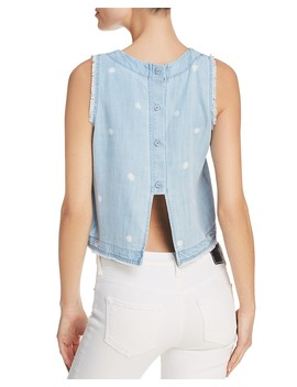 Fringed Button Down Back Top by Bella Dahl