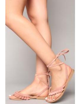 Memory Lane Lace Up Sandal   Mauve by Fashion Nova