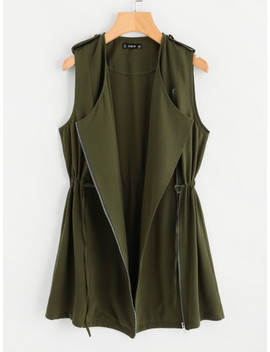 Drawstring Waist Zipper Up Vest by Shein
