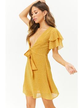 Chiffon Polka Dot Plunging Tie Front Dress by Forever 21