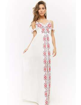 Floral Embroidered Open Shoulder Maxi Dress by Forever 21