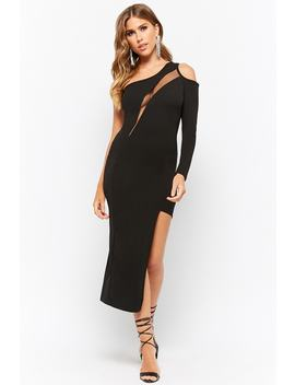 One Shoulder Mesh Panel Bodycon Dress by Forever 21