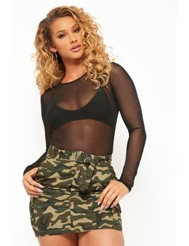 Belted Camo Cargo Mini Skirt by Forever 21