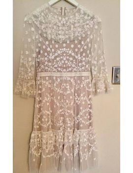 Bhldn Needle & Thread Ivory Beaded Shadow Lace Dress Size 2 4 $648 by Needle & Thread
