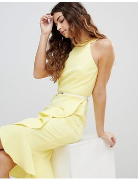 Paper Dolls Sleeveless Ruffle Detail Dress With Belt by Paper Dolls