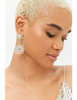 Tiered Faux Gem Drop Earrings by Forever 21