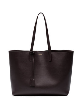 Burgundy Shopper Leather Tote Bag by Saint Laurent