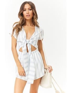 Reverse Slub Woven Striped Tie Front Romper by Forever 21