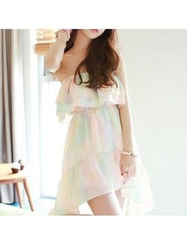 Gradient Strapless Chiffon Dress by Fashion Street