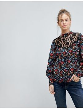 Influence High Neck Floral Top With Lace Yoke And Blouson Sleeve by Top