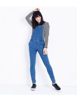Noisy May Bright Blue Denim Dungarees by New Look