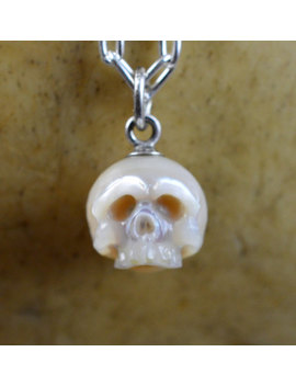 Carved Pearl Skull Necklace   Pearl Skull With Silver Bail   Skull Jewelry   Skull Necklace   Skull Pearl   Gift For Him   Gift For Her by Etsy